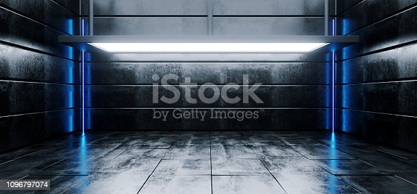 909529832 istock photo Sci Fi Modern Vibrant Empty High Contrast Grunge Concrete Realistic Room With Big Studio Lights Showroom Stage And Neon Glowing Led Laser Blue Light Vertical Lines 3D Rendering 1096797074