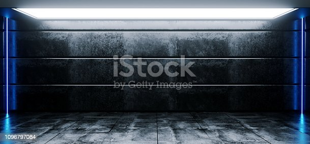 909529832 istock photo Sci Fi Modern Vibrant Empty High Contrast Grunge Concrete Realistic Room With Big Studio Lights Showroom Stage And Neon Glowing Led Laser Blue Light Vertical Lines 3D Rendering 1096797084
