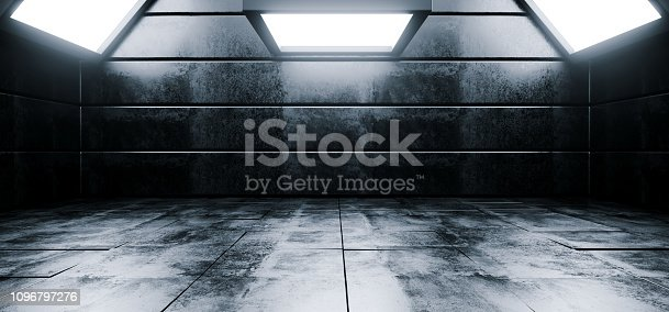 909529832istockphoto Sci Fi Modern Vibrant Empty High Contrast Grunge Concrete Realistic Room With Big Studio Lights Showroom Stage Background 3D Rendering 1096797276