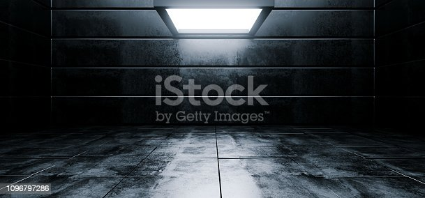 909529832 istock photo Sci Fi Modern Vibrant Empty High Contrast Grunge Concrete Realistic Room With Big Studio Lights Showroom Stage Background 3D Rendering 1096797286