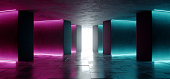 Sci Fi Neon Glowing Laser Led Futuristic Modern Empty Dance Lights On Grunge Reflective Concrete Texture Lines Tiled Alien Ship Background 3D Rendering Illustration