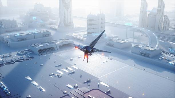 Sci fi ship over futuristic fog city. Aerial view. Concept of future. 3d rendering. stock photo