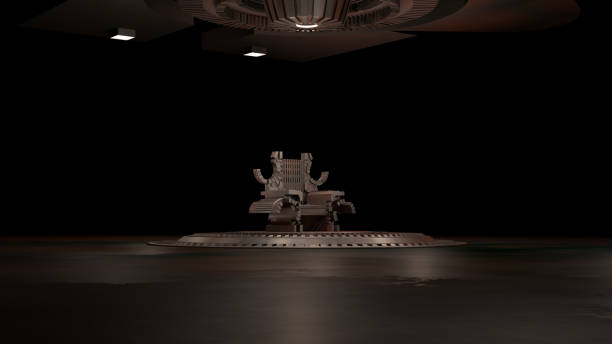 sci fi throne rum 3d rendering - tron sci fi bildbanksfoton och bilder