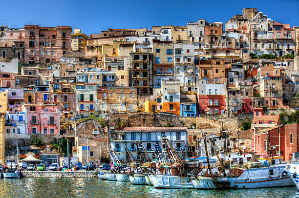 Sciacca Harbour of Sciacca, Sicily sicily stock pictures, royalty-free photos & images