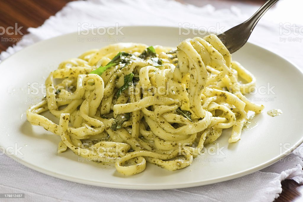 Scialatielli with pesto stock photo
