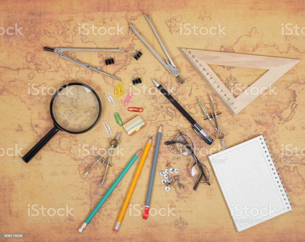 Science and education - Desktop scientist objects stock photo