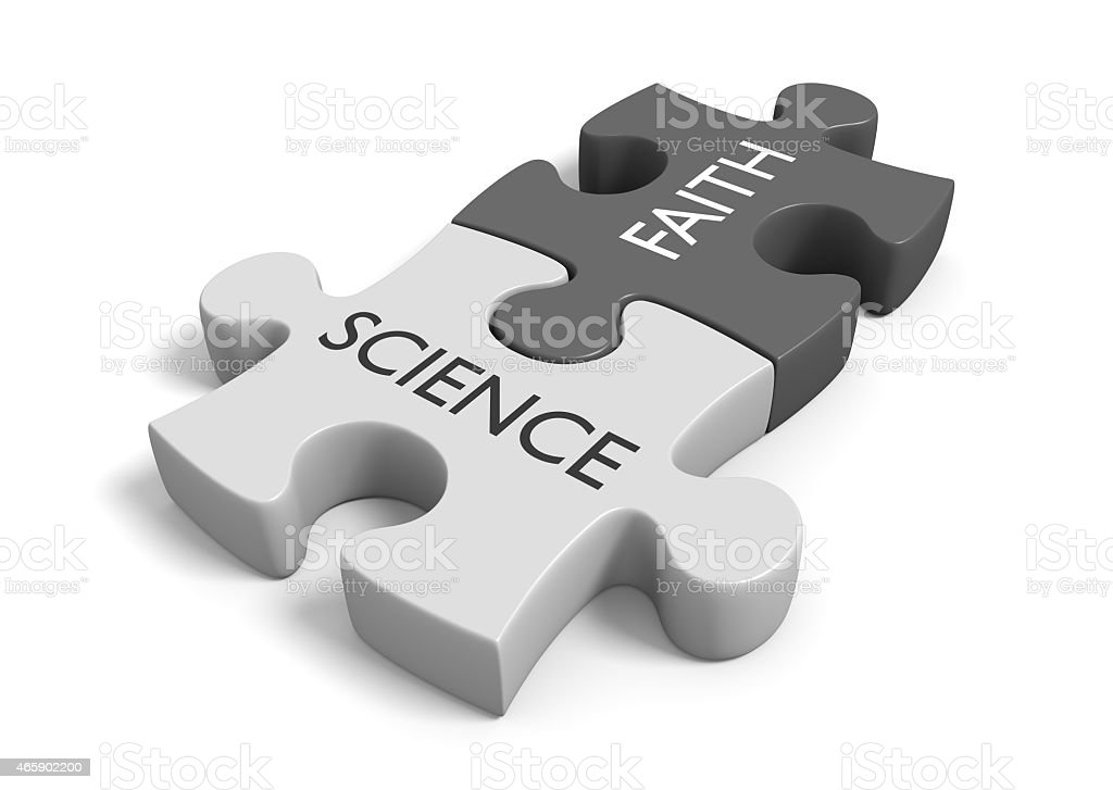 Science and faith, method and mythology stock photo