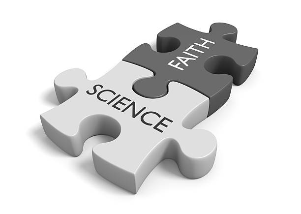 Science and faith, method and mythology stock photo
