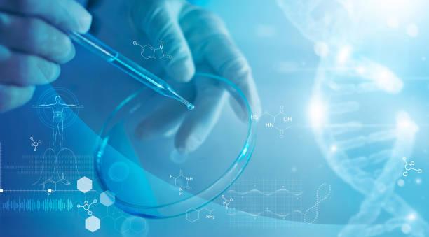 nauka i medycyna, naukowiec analizujący i upuszczający próbkę do szkła, eksperymenty zawierające ciecz chemiczną w laboratorium na szkle, strukturze dna, innowacyjności i technologii. - laboratorium zdjęcia i obrazy z banku zdjęć