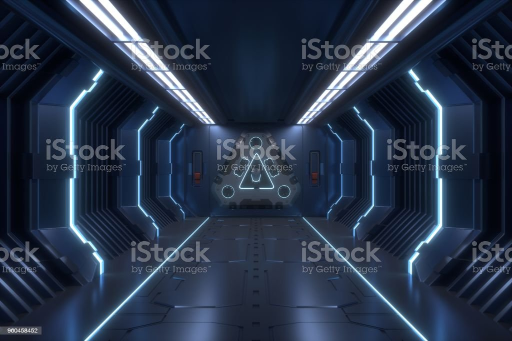 Science background fiction interior rendering stock photo