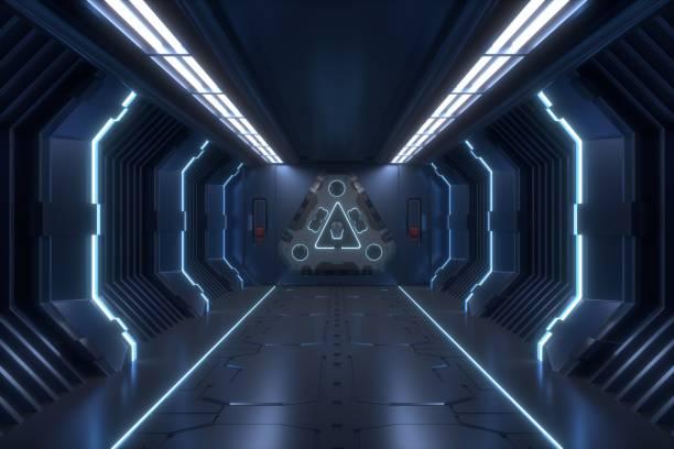 rendu en intérieur fiction science arrière-plan - vaisseau spatial photos et images de collection