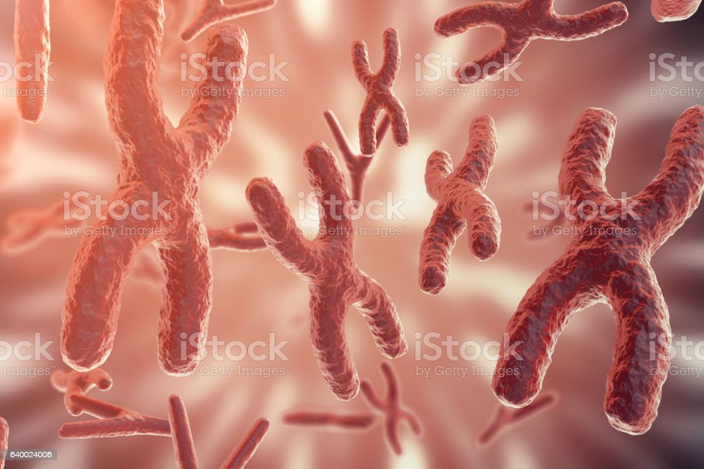 Science background with Chromosomes. Medicine scientific concept. 3d rendering stock photo