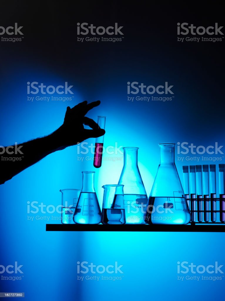 Science Beakers, Flasks and Test Tubes for Research royalty-free stock photo