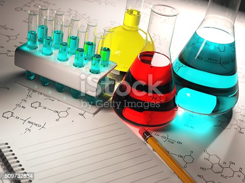 istock Science chemistry concept.Laboratory test tubes and flasks with 509732834