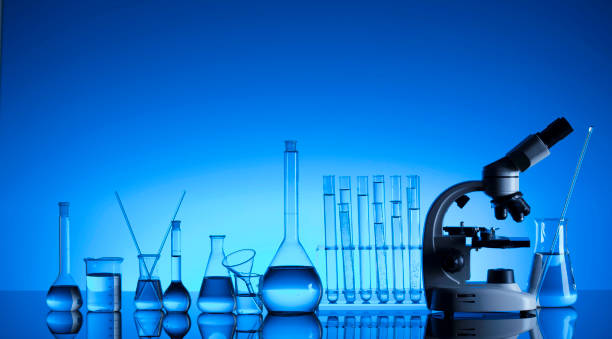 science concept. laboratory glassware. chemical experiment. - laboratory equipment stock photos and pictures