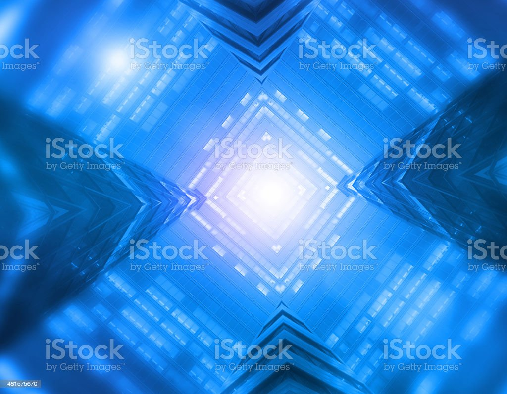 Science fiction blue background, light tunnel inside futuristic spaceship stock photo