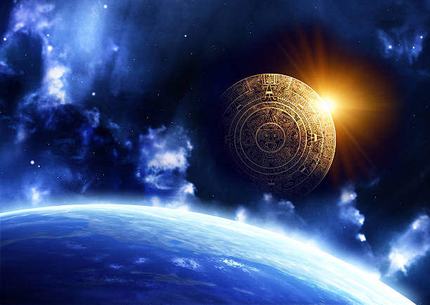 Science fiction image of space ship rising over earth Horizontal background with Maya calendar and Earth 2012 stock pictures, royalty-free photos & images