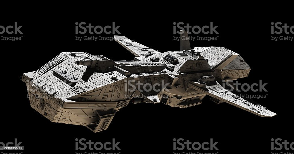 Science Fiction Interplanetary Spaceship Illustration - Side Angled View stock photo