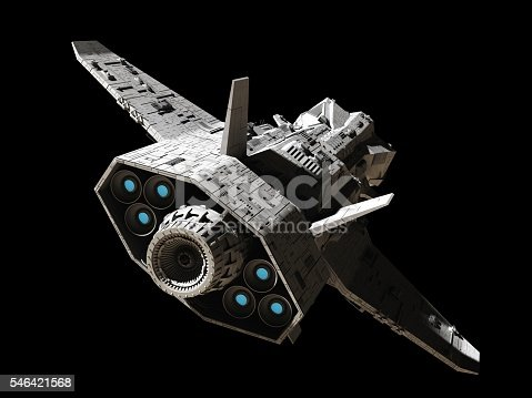 istock Science Fiction Interplanetary Spaceship - Rear Angled View 546421568