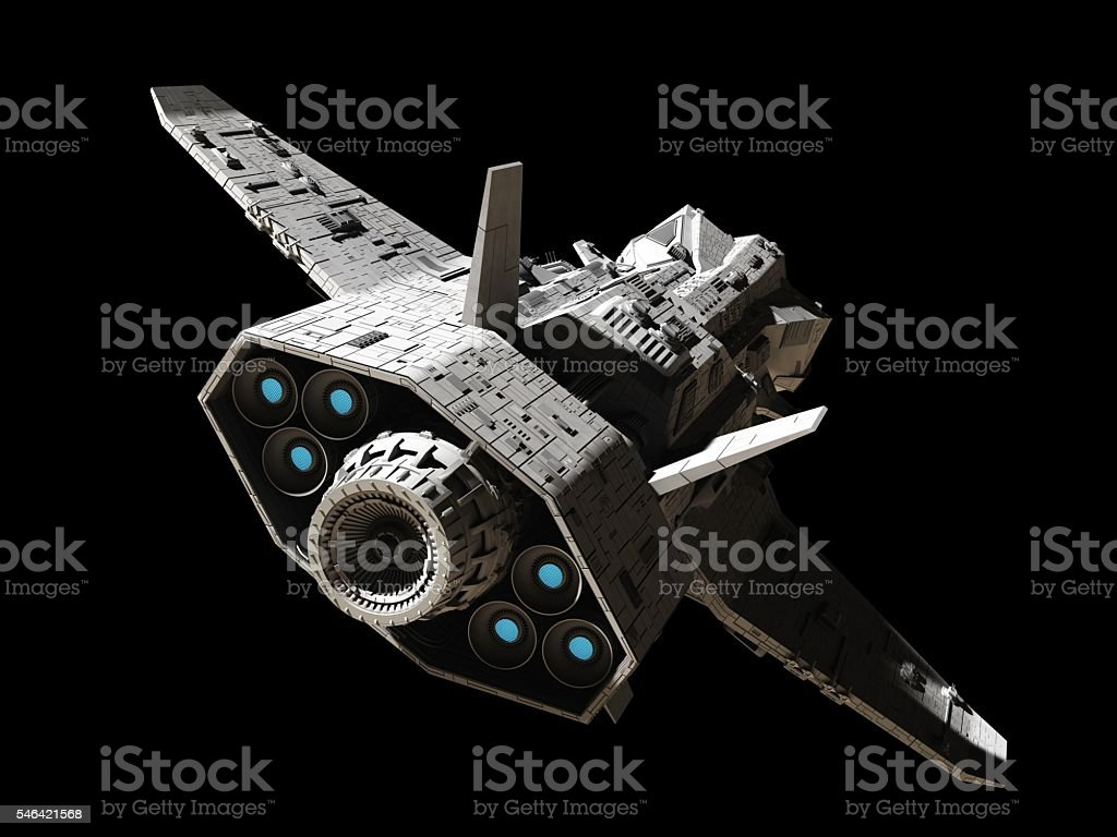 Science Fiction Interplanetary Spaceship - Rear Angled View stock photo
