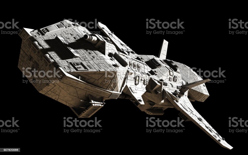 Science Fiction Interplanetary Spaceship - Top Angled View stock photo