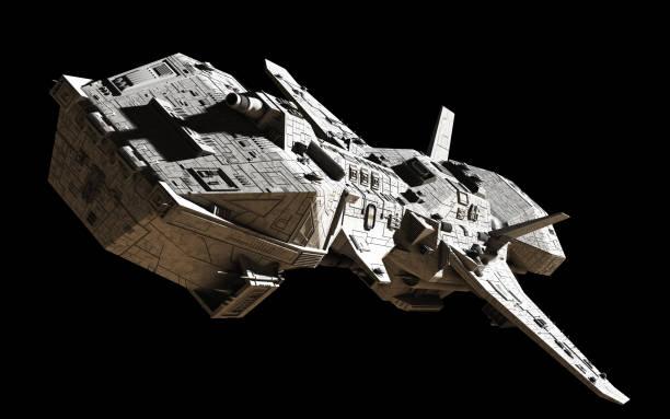 science fiction interplanetair ruimteschip - top hoek weergave - ruimtevaart voertuig stockfoto's en -beelden