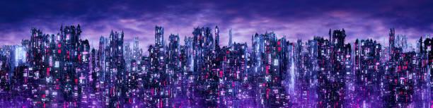 Science fiction neon city night panorama stock photo
