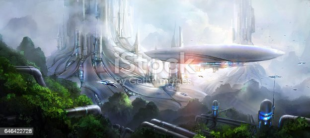 istock Science fiction scene. 646422728