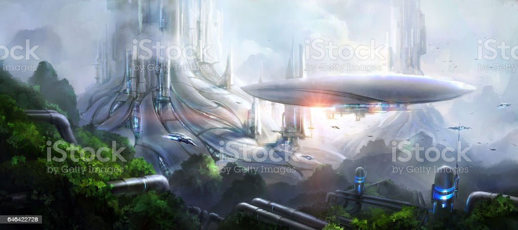 Science fiction scene. stock photo