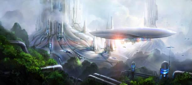 Science fiction scene. stock photo