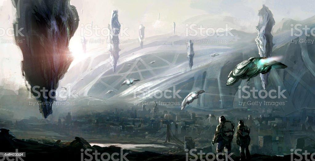 Cena de ficção científica. - foto de acervo