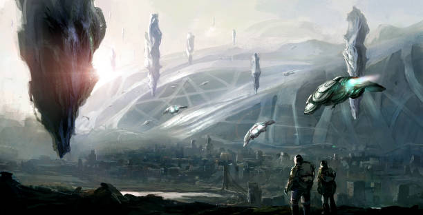science fiction scene. - battle stock photos and pictures