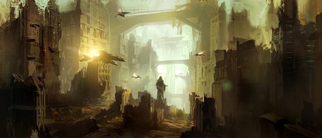 istock Science fiction scene. 646425696