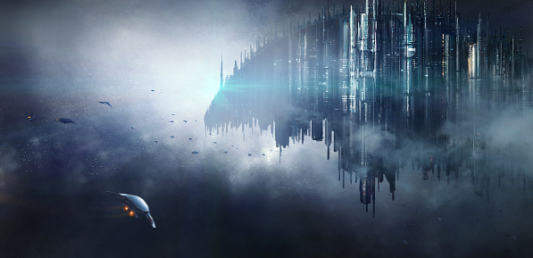 istock Science fiction scene. 695037904