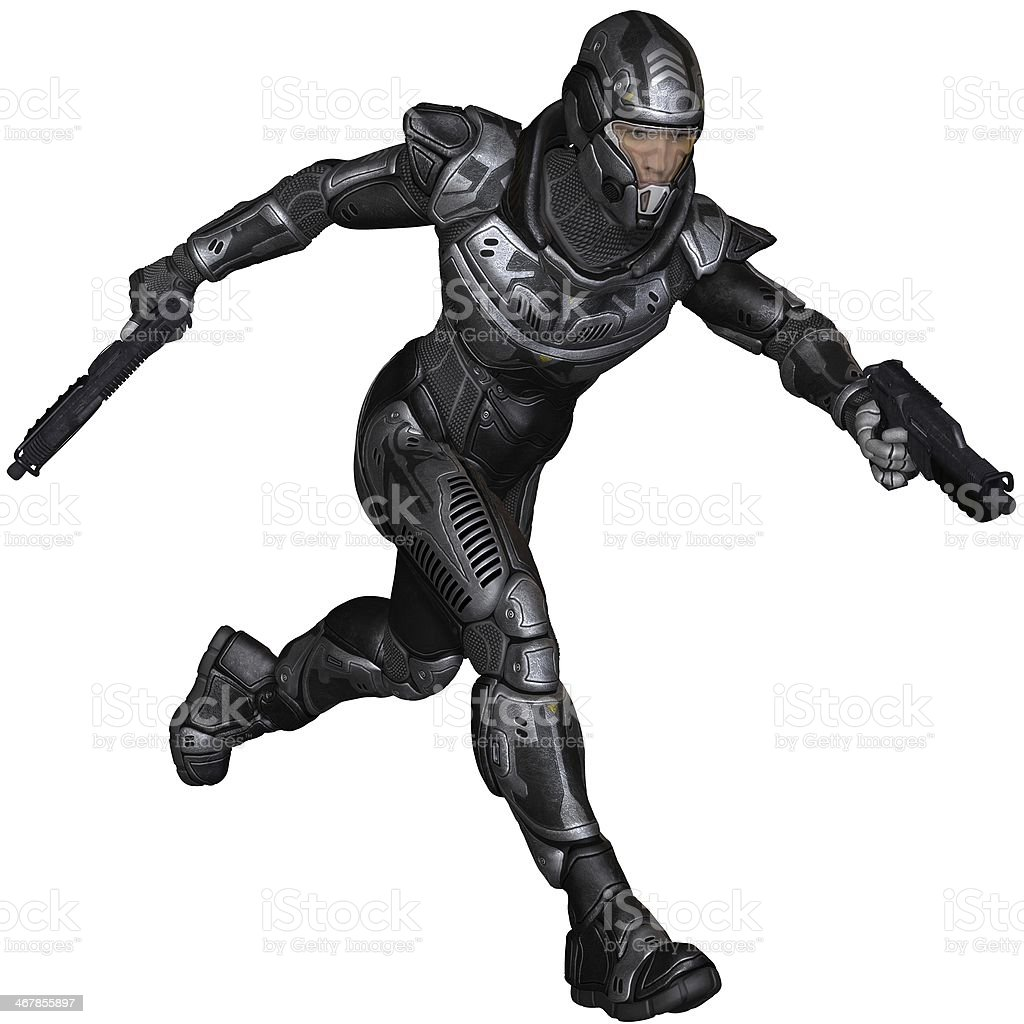 Science Fiction Soldier - Running stock photo