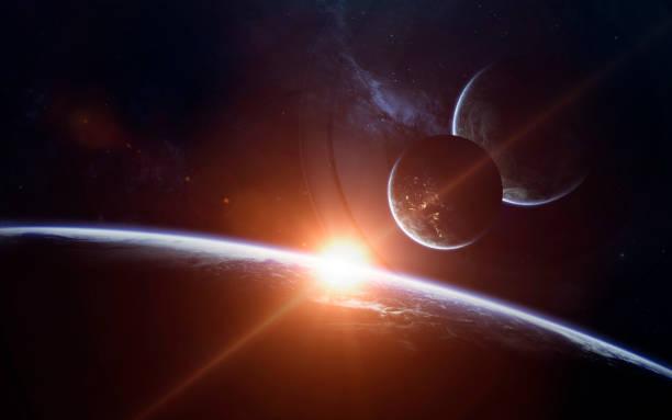 fond d'écran de science fiction espace incroyablement belles planètes, galaxies, beauté sombre et froide de l'univers sans fin. éléments de cette image fournie par la nasa - venus photos et images de collection