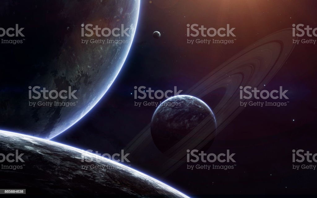 Science fiction space wallpaper, incredibly beautiful planets, galaxies, dark and cold beauty of endless universe. Elements of this image furnished by NASA stock photo