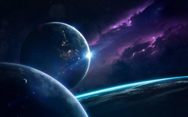 science fiction ruimte behang, ongelooflijk mooi planeten, sterrenstelsels, donkere en koude schoonheid van eindeloze heelal. elementen van dit beeld ingericht door nasa - ruimtevaart voertuig stockfoto's en -beelden