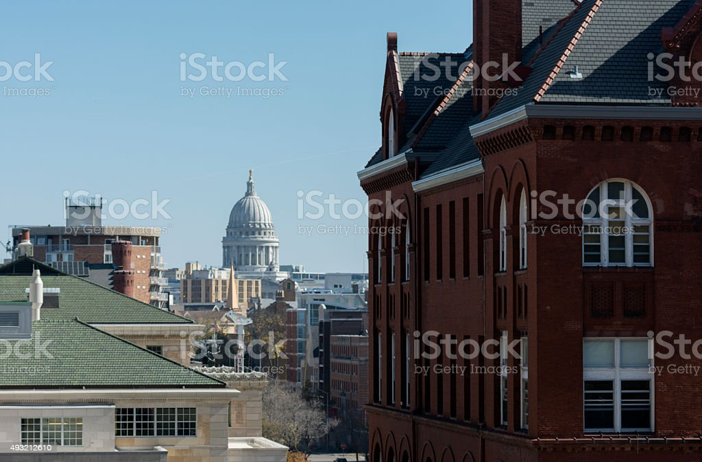 Science Hall with Capitol stock photo