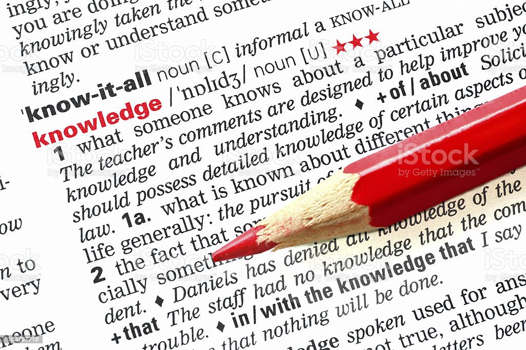 Science knowledge highlighted in dictionary red pen royalty-free stock photo