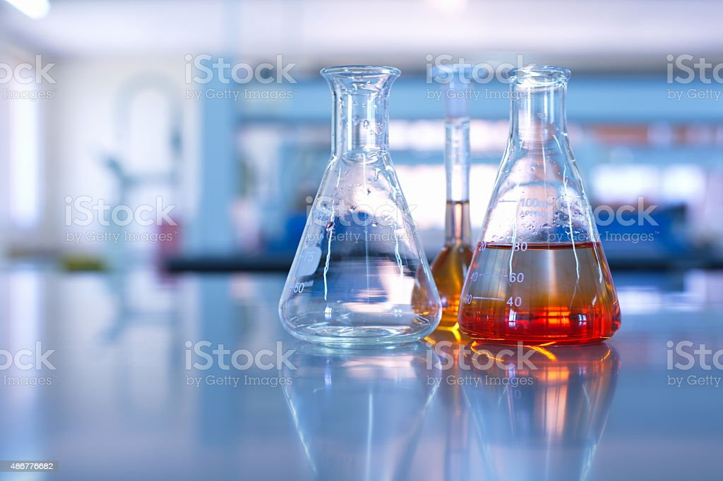 science laboratory glassware stock photo