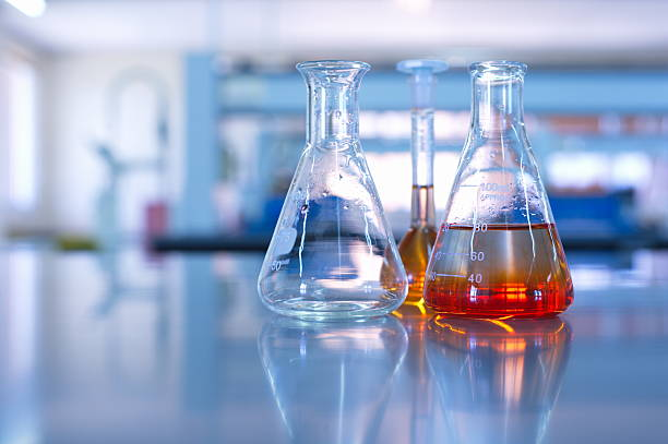 science laboratory glassware - flask stock photos and pictures