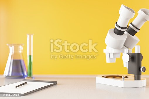 Science Laboratory Research Concept with Microscope. 3d render