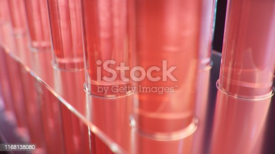 891126112istockphoto Science laboratory research. Development of medical technology. A breakthrough in biotechnology. Red liquid inside the test tube as fuel. Biotechnology, glassware flasks. Test tubes, 3D Illustration 1168138080