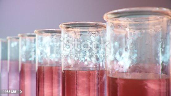 istock Science laboratory research. Development of medical technology. A breakthrough in biotechnology. Red liquid inside the test tube as fuel. Biotechnology, glassware flasks. Test tubes, 3D Illustration 1168138110