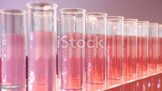 istock Science laboratory research. Development of medical technology. A breakthrough in biotechnology. Red liquid inside the test tube as fuel. Biotechnology, glassware flasks. Test tubes, 3D Illustration 1168138111