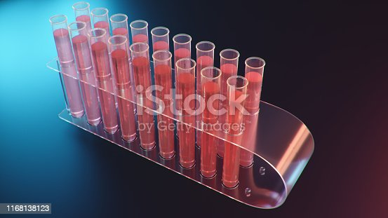 istock Science laboratory research. Development of medical technology. A breakthrough in biotechnology. Red liquid inside the test tube as fuel. Biotechnology, glassware flasks. Test tubes, 3D Illustration 1168138123