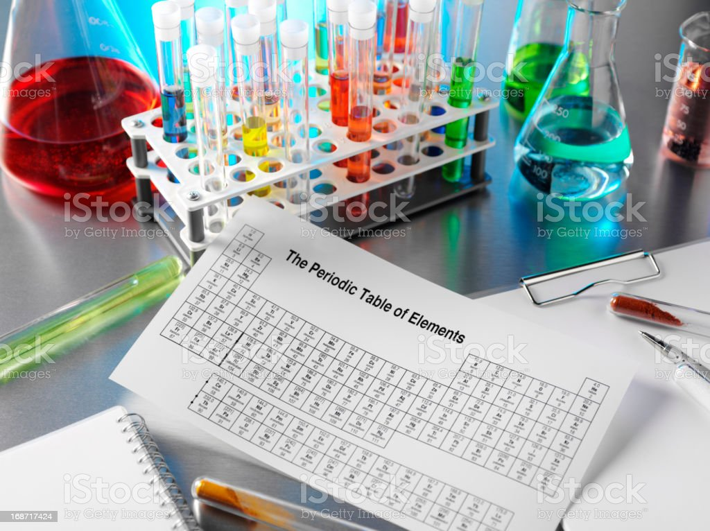 Science Laboratory with a Periodic Table royalty-free stock photo