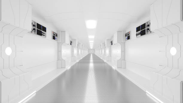 science lap, sci-fi corridor white color stock photo