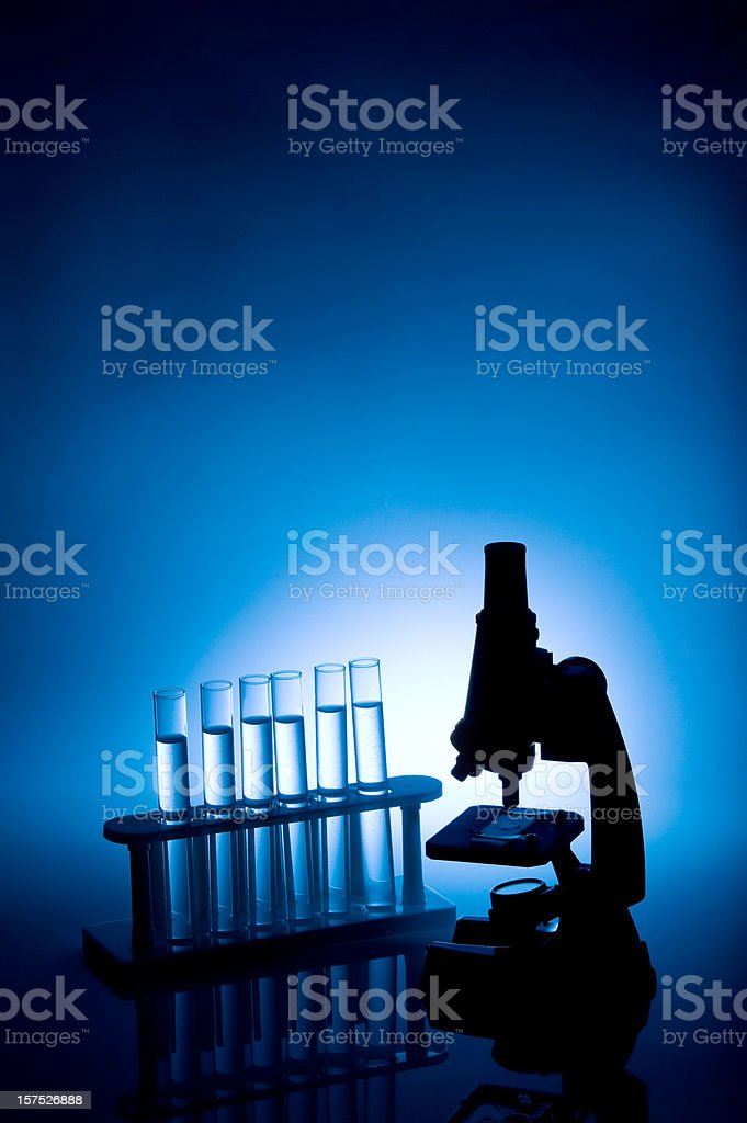 Science Microscope Silhouette Vertical royalty-free stock photo